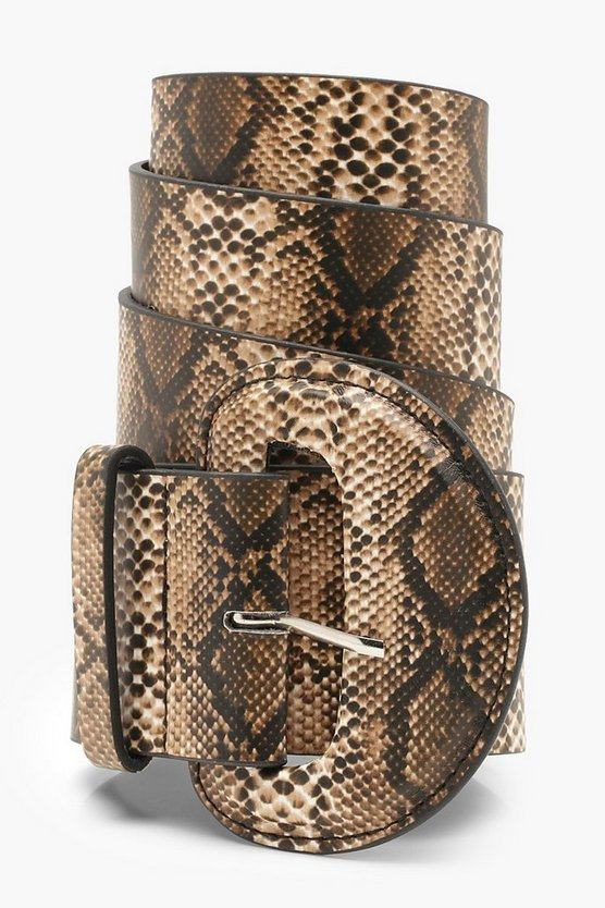 Natural Faux Python Wide Waist Belt