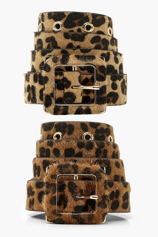 Womens Brown 2 Pack Leopard Pony Belt