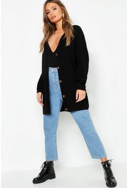Womens Black Oversized Button Detail Boyfriend Cardigan