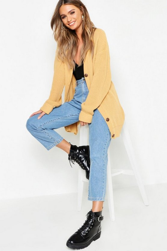 Womens Camel Oversized Button Detail Boyfriend Cardigan