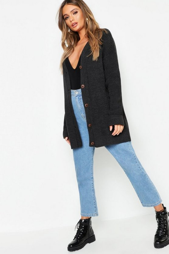 Womens Charcoal Oversized Button Detail Boyfriend Cardigan