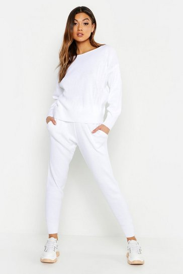 Womens White Slash Neck Knitted Set
