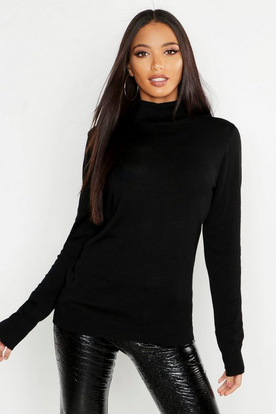 Womens Black Roll Neck Fine Gauge Jumper
