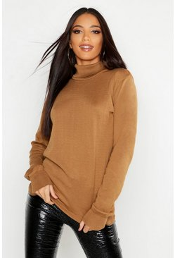 Womens Camel Roll Neck Fine Gauge Jumper