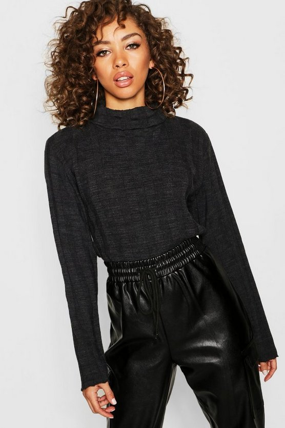 Womens Charcoal Roll Neck Rib Knit Jumper