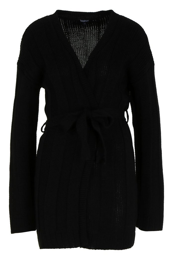 Black Knitted Longline Belted Cardigan