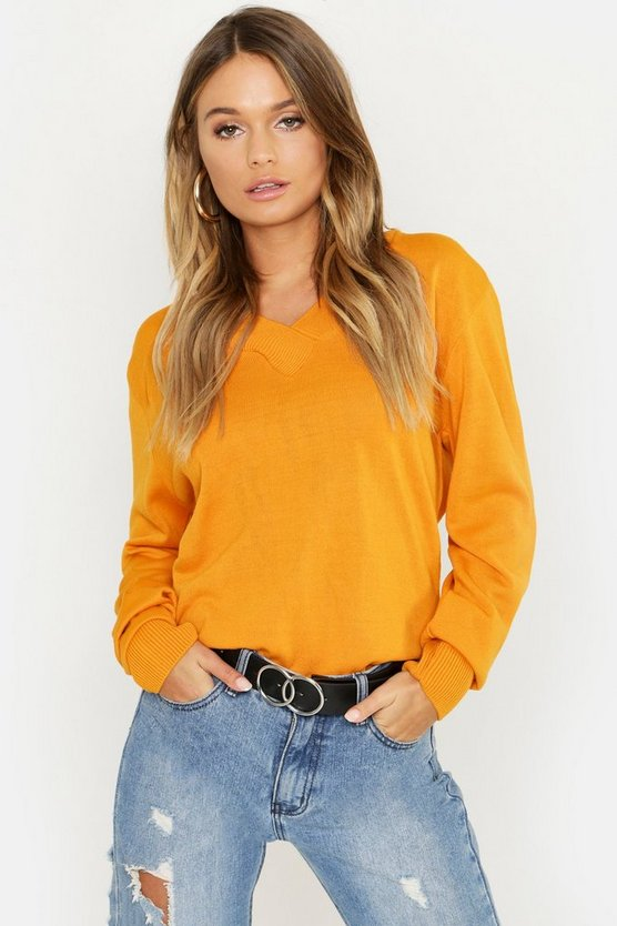 V Neck Fine Gauge Jumper