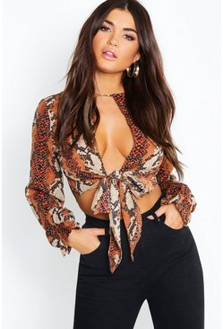 Womens Brown Snake Tie Front Ruffle Cuff Crop