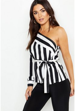 Womens Black One Shoulder Stripe Tie Top