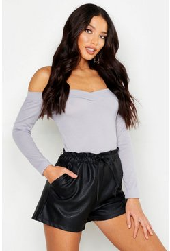 Grey marl Rib Sweetheart Neck Basic Top