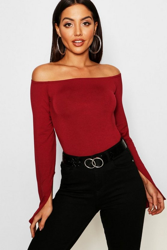 Split Sleeve Bardot Basic Top