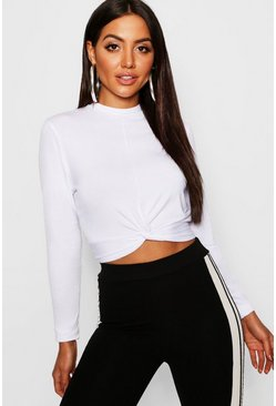 Womens Basic High Neck Twist Top