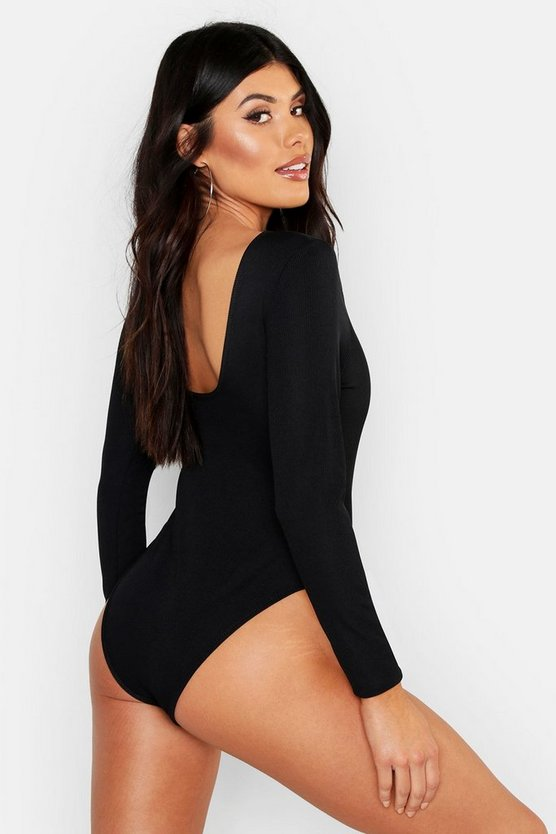 Womens Black Scoop Back Long Sleeve Rib Bodysuit