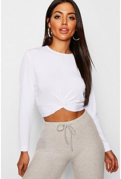 Womens White Basic Crew Neck Twist Top
