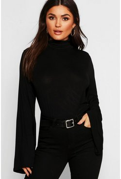 Womens Black Basic Turtle Neck Wide Sleeve Top