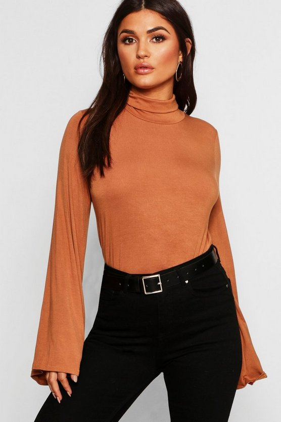 Womens Tan Basic Turtle Neck Wide Sleeve Top