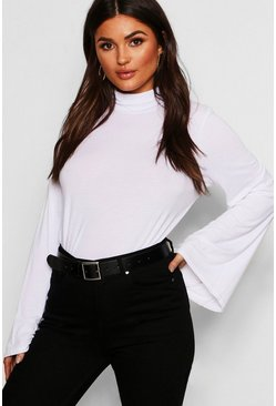Dam White Basic Turtle Neck Wide Sleeve Top