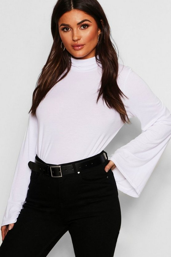 Basic Turtle Neck Wide Sleeve Top