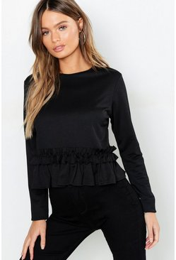 Womens Black Long Sleeve Ruffle Trim Top