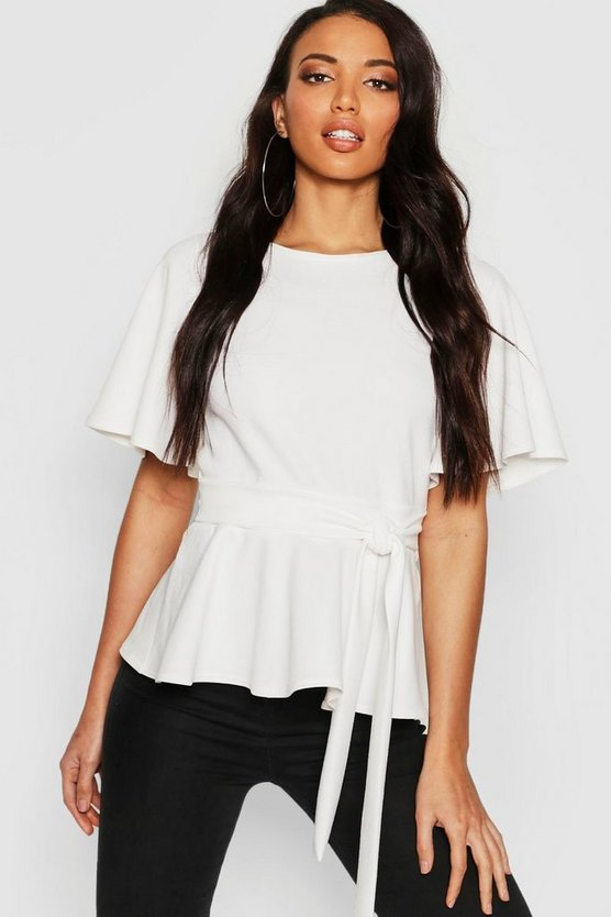 Womens Ivory Crepe Open Back Peplum Top
