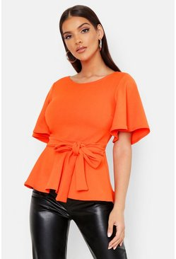 Womens Orange Crepe Open Back Peplum Top
