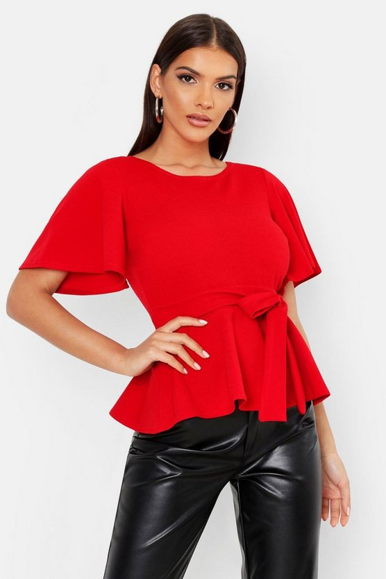 Womens Red Crepe Open Back Peplum Top