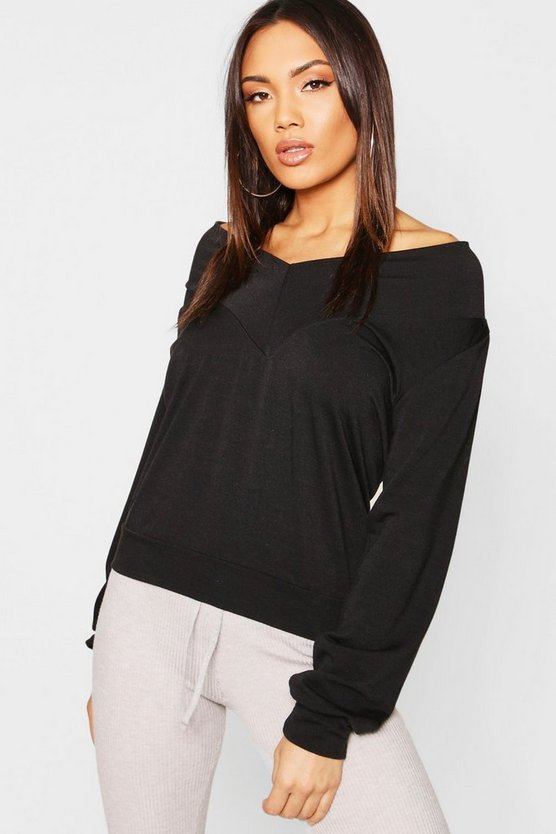 Womens Black Deep Neck Oversized Sweat