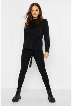Womens Black Tie Waist Light Weight Sweat