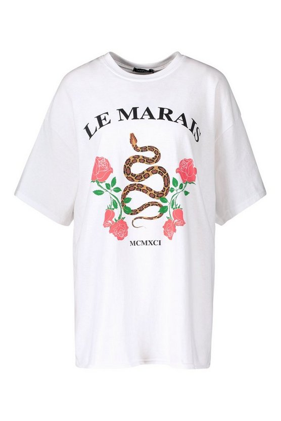Snake Slogan Oversized T-Shirt