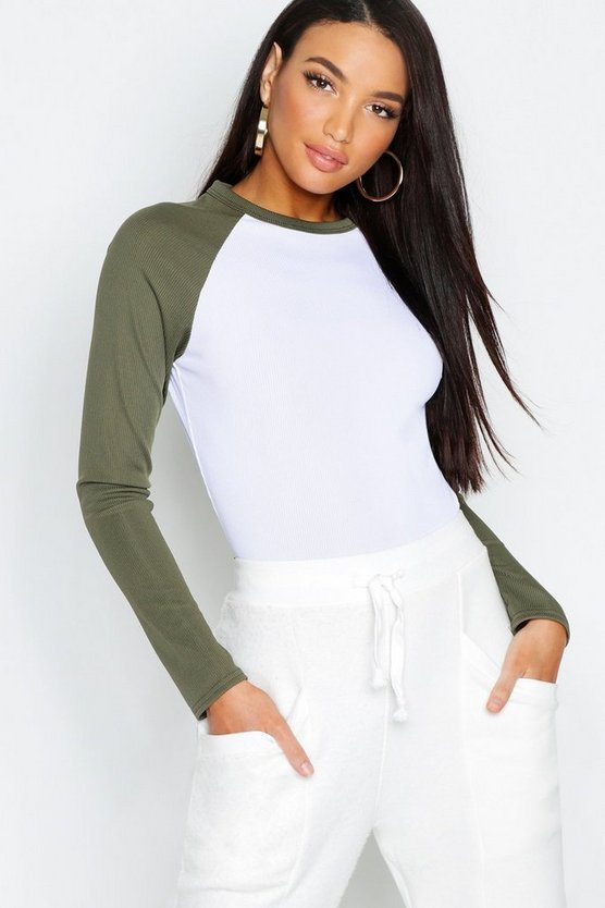 Womens Khaki Raglan Sleeve Rib Long Sleeve T-Shirt