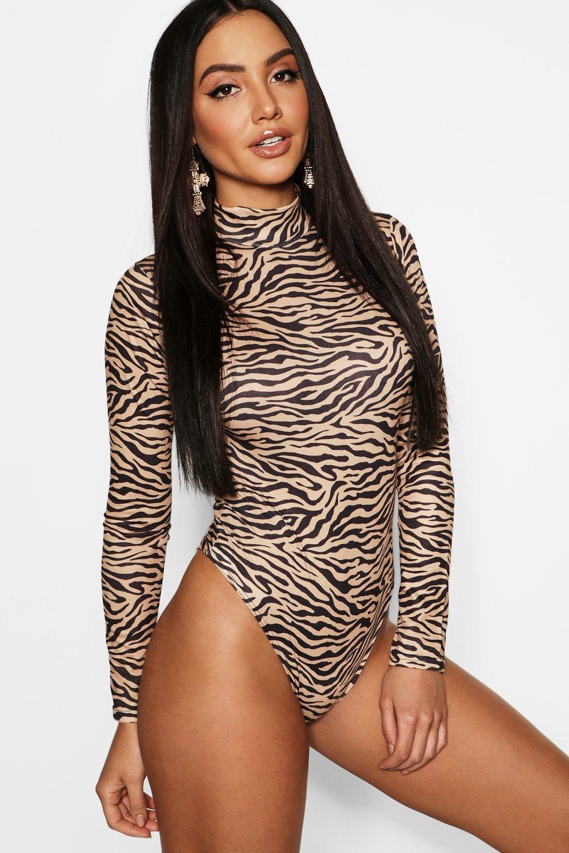 1416f00ddc Boohoo Womens Tiger Print High Neck Long Sleeve Bodysuit