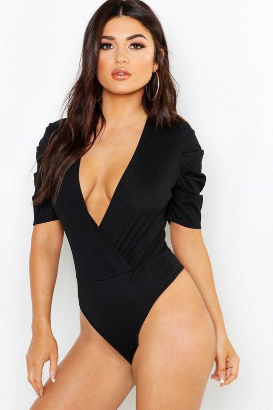 Ruched Sleeve Rib Wrap Bodysuit