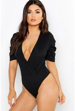 Womens Ruched Sleeve Rib Wrap Bodysuit