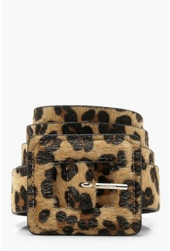 Womens Natural Faux Leopard Poly Self Buckle Belt