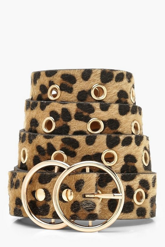 Womens Natural Leopard & Eyelet Double Ring Belt