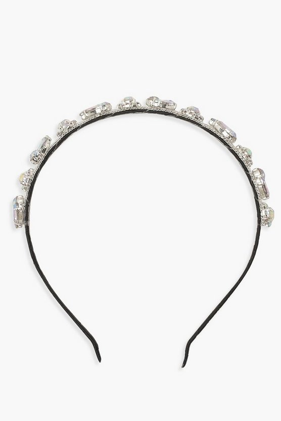 Womens Silver Diamante Embellished Headband