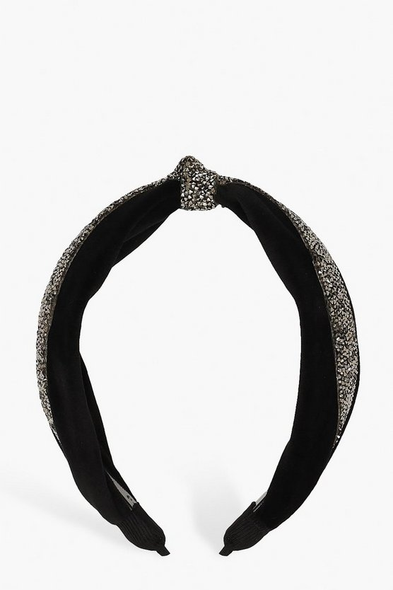 Womens Black Velvet Embellished Knot Top Headband