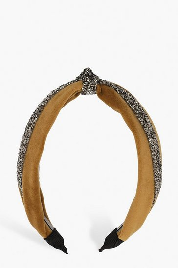 Gold Velvet Embellished Knot Top Headband
