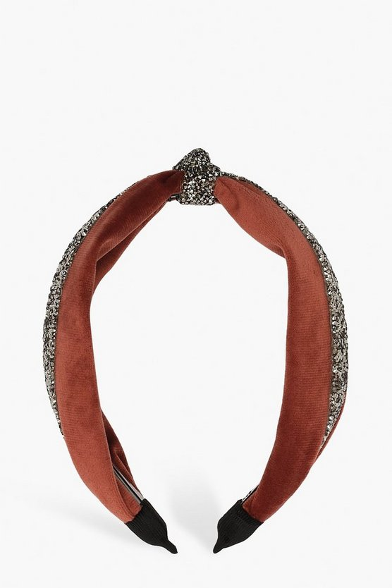 Velvet Embellished Knot Top Headband by Boohoo
