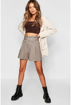 Womens Brown Check Belted Paper Bag Shorts