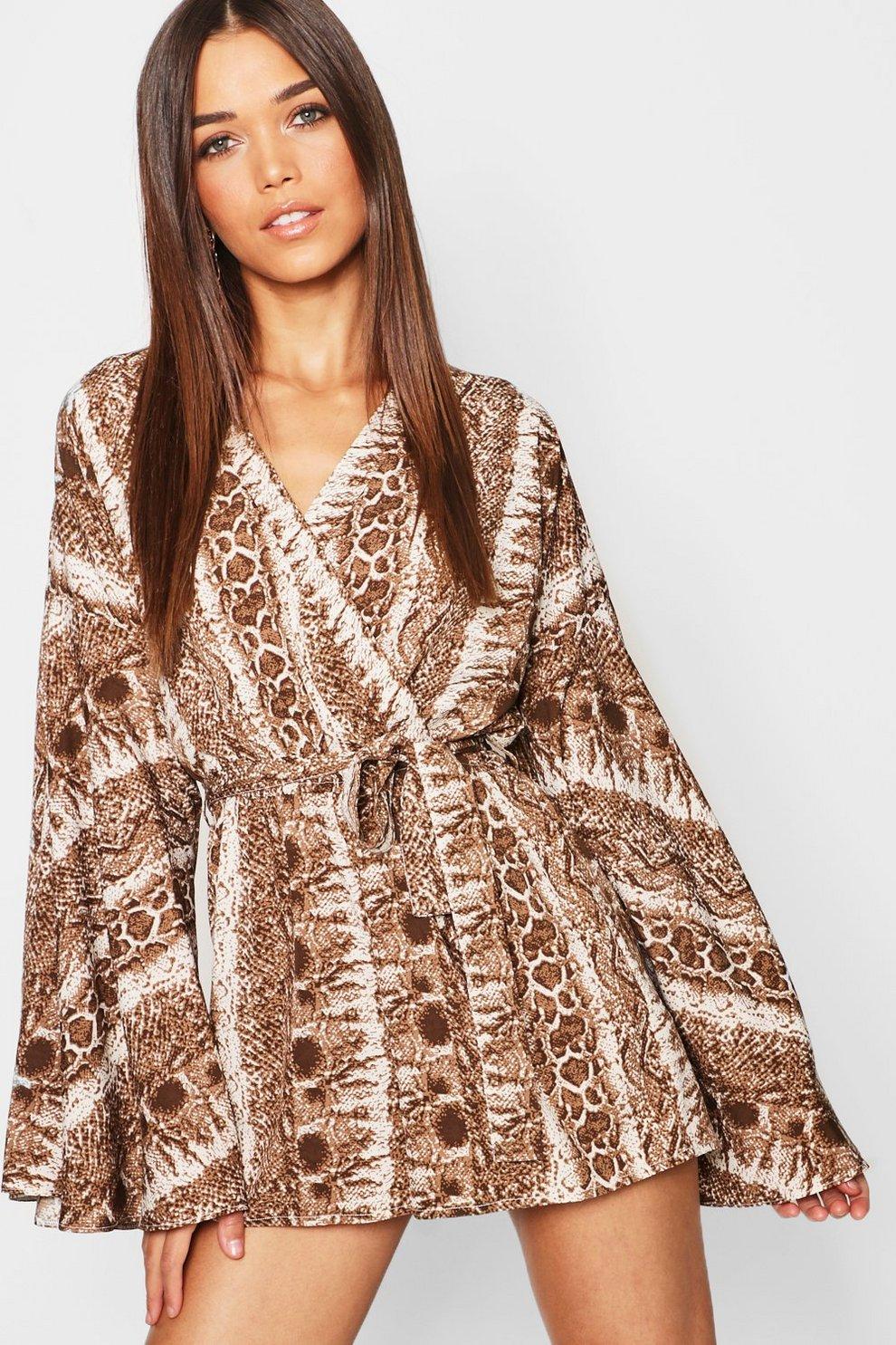 25cf72b2401 Kimono Flare Sleeve Snake Print Wrap Playsuit