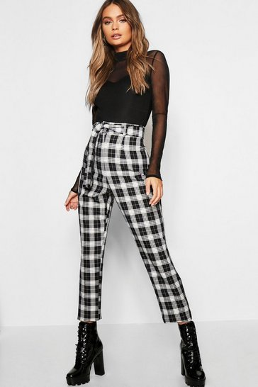 Womens Black Woven Tartan Check Tie Waist Slimline Trousers