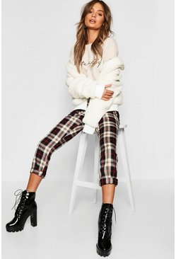 Womens Black Tartan Check Tapered Pants