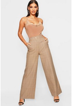 Womens Camel Tonal Check Wide Leg Trouser