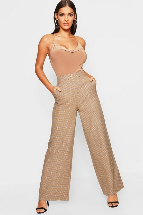 Tonal Check Wide Leg Trouser