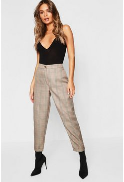 Womens Tan Checked Tapered Trousers