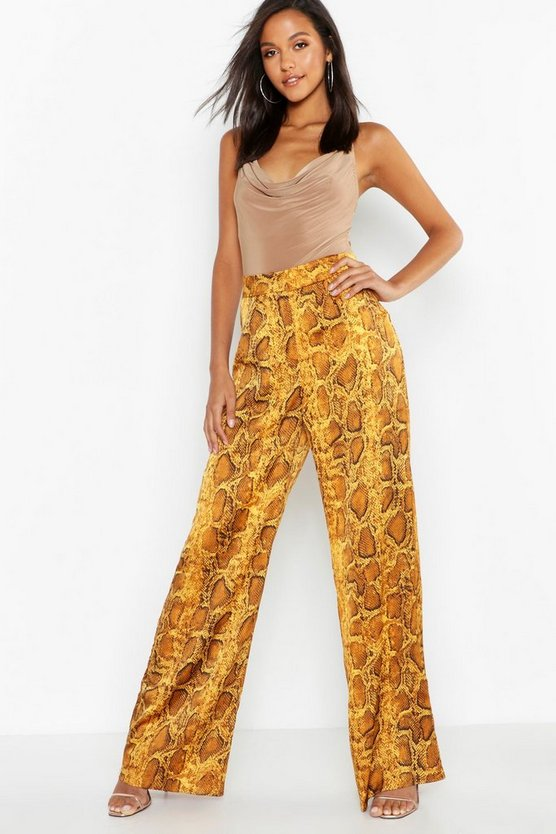 Womens Mustard Satin Snake Wide Leg Pants