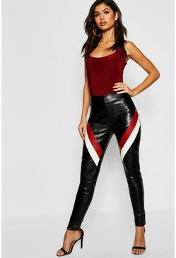 Womens Black Panelled Leather Look Skinny Trousers