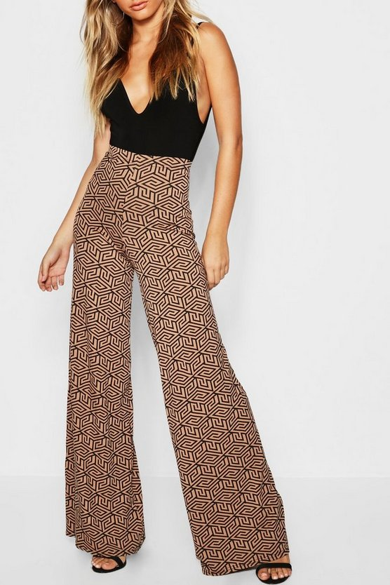 Womens Chocolate Geo-Print Wide Leg Trousers