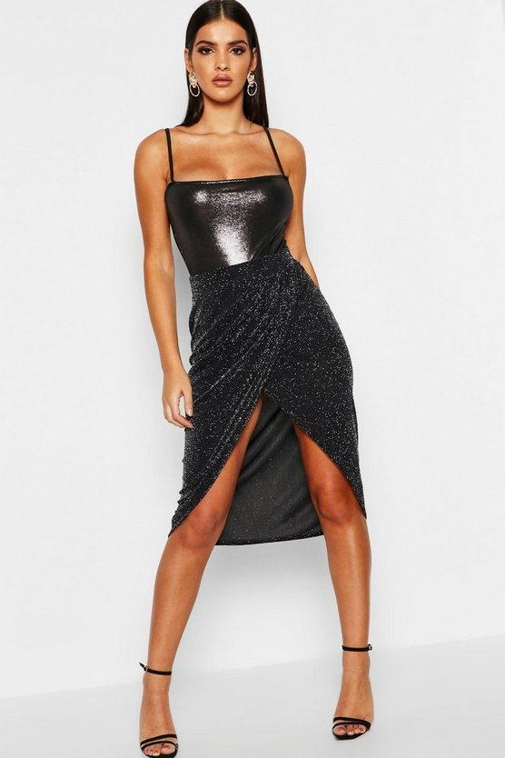 Metalic Glitter Wrap Skirt